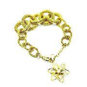 Pulseira Elos De Malha Com Flor Diamantada Banhada Ouro 1889 3162