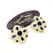 Brincos Flor De Lis Azul Safira E Zirconias Banho Ouro 4468