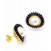Brincos Pérolas E Zirconias Negras Banho Ouro 18k 4221