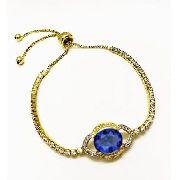 Pulseira Cristal Azul Topázio E Zirconias Ajustável Banho Ouro 4114