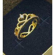 Anel Falange Coroa de Zirconia E Coração Vazado Banho Ouro 18k 4101