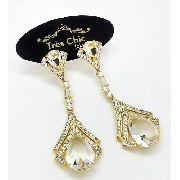 Brincos Gotas Cristal De Rocha  E Zirconias Banho Ouro 18k 4083