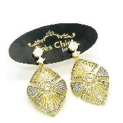 Brincos Cravejado De Zirconias Cristal Banho Ouro 18k 4055