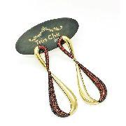 Brincos Infinito Cravejado Zirconias Escarlate E Negras Banho Ouro 18k 3988