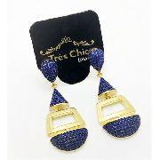 Brincos Azul Klein Zirconias Banho Ouro 18k 3764A