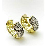 Brincos Argolas Pavé Zirconias Cristal Banho Ouro 3762