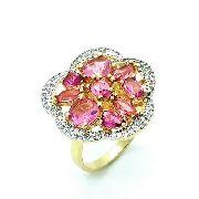 Anel Flor Cristais Rubelita E Microzirconias Cristal Banho Ouro 18k 3677