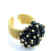 Anel Bouquet Contas Negras Aro Ajustável Banho De Ouro 18k 1502
