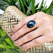 Anel Com Pedra Cabochon Azul Cobalto Banho De Ouro 18k 148