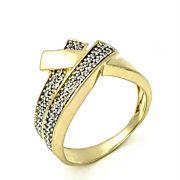 Anel Cravejado De Zirconias Em Prata Banhada A Ouro 18k 1269