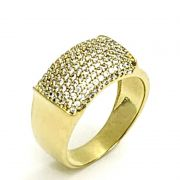 Anel Cravejado De Zirconias Em Prata Banhado A Ouro 18k 1270