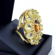 Anel Cristal Banho De Ouro 18k 2253