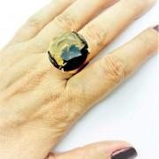 Anel De Pedra Cristal Green Gold Banho De Ouro 18k 374