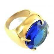 Anel De Pedra Cristal Lapidação Brilhante BanhoDe Ouro 18k 377