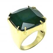 Anel De Pedra Cristal Preto Ônix Banho De Ouro 18k 1056