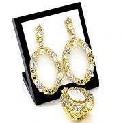 Anel E Brincos Cravejados Cristal Opala Banho De Ouro 3353 3354