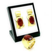 Anel E Brincos Cristal Vermelho Granada Banho De Ouro 18k 1068 1072