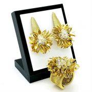 Anel E Brincos Flor De Cristal Com Pétalas Douradas Banho De Ouro 18k 1605 1620
