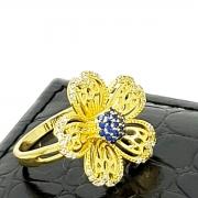 Anel Flor Cravejada Com Zirconias Banho De Ouro 18k 1855