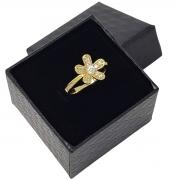 Anel Flor Cravejado Com Zirconias Banho De Ouro 18k 1167