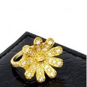 Anel Flor Cravejado De Zirconias Banho De Ouro 18k 1874
