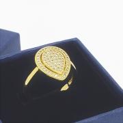 Anel Gota Cravejada Com Zirconias Banho De Ouro 18k 1199