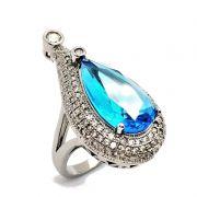 Anel Gota Cristal Azul Topázio Cravejado Banho De Ródio Negro 2396