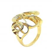Anel Gotas Diamantadas Banho De Ouro 18k 1595