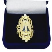 Anel Nossa Senhora Aparecida Cravejado Zirconias Banho De Ouro 18k 1751
