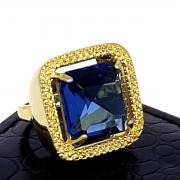 Anel Pedra Cristal Azul Topázio Banho De Ouro 18k 1429