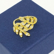 Anel Ramos Cravejados Zirconia Cristal Banho De Ouro 18k 1177a