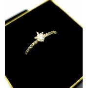 Anel Solitário Zirconia Aro Cravejado Banho De Ouro 18k 1911