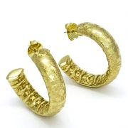 Brincos Argolas Diamantadas Banho De Ouro 18k 1792