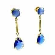 Brincos Cristais Azul Topázio E Olho De Gato Banho A Ouro 18k 1065