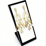 Brincos Chandelier Cravejados Com Zirconias Banho De Ouro 18k 810