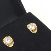 Brincos Chapéu Zirconia Banho De Ouro 18k 2418