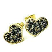 Brincos Coração Em Prata Com Banho De Ouro 18k Cravejado Pavé De Zirconias 1286
