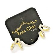 Brincos Cravação Microzirconias Cristal Banho Ouro 18k 4594