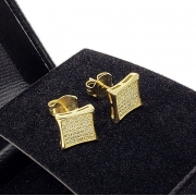 Brincos Cravejados De Zirconias Banho De Ouro 18k 1347