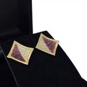 Brincos Cravejados Pavé Banho De Ouro 18k 2634