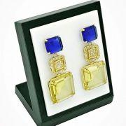 Brincos Cristais Citrino E Azul Safira Cravejados De Zirconias Banhados A Ouro 18k 750