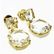 Brincos De Pedra Cristal Lapidação Brilhante Banho De Ouro 18k 411