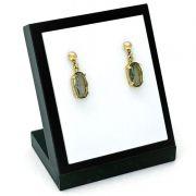 Brincos De Pedras Cristais Banhados A Ouro 18k 1390