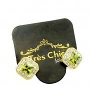 Brincos Cristal Cravejados De Zirconias Banho De Ouro 18k 4126