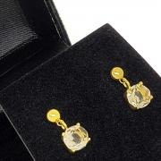 Brincos De Pedra Cristal Fumée Banho De Ouro 18k 1390D