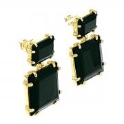 Brincos de Pedra Cristal Preto Ônix Lapidação Baguete Banho De Ouro 18k 419