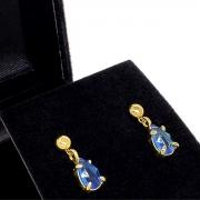 Brincos De Pedra Gota Azul Safira Banho De Ouro 18k 1390A