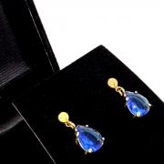 Brincos De Pedra Cristal Gota Banho De Ouro 18k 1390B