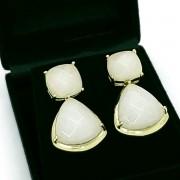Brincos De Pedra Natural Ágata Branca Banho De Ouro 18k 50