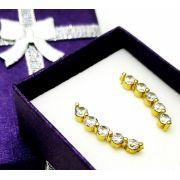 Brincos Ear Cuff  Zirconias Banho Ouro 18k 3802
